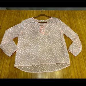 J Crew size medium sheer pink blouse